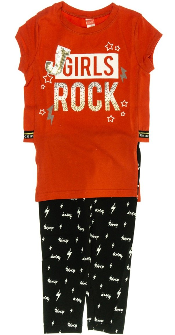 Joyce παιδικό σετ μπλούζα-παντελόνι κολάν κάπρι «Girls Rock»