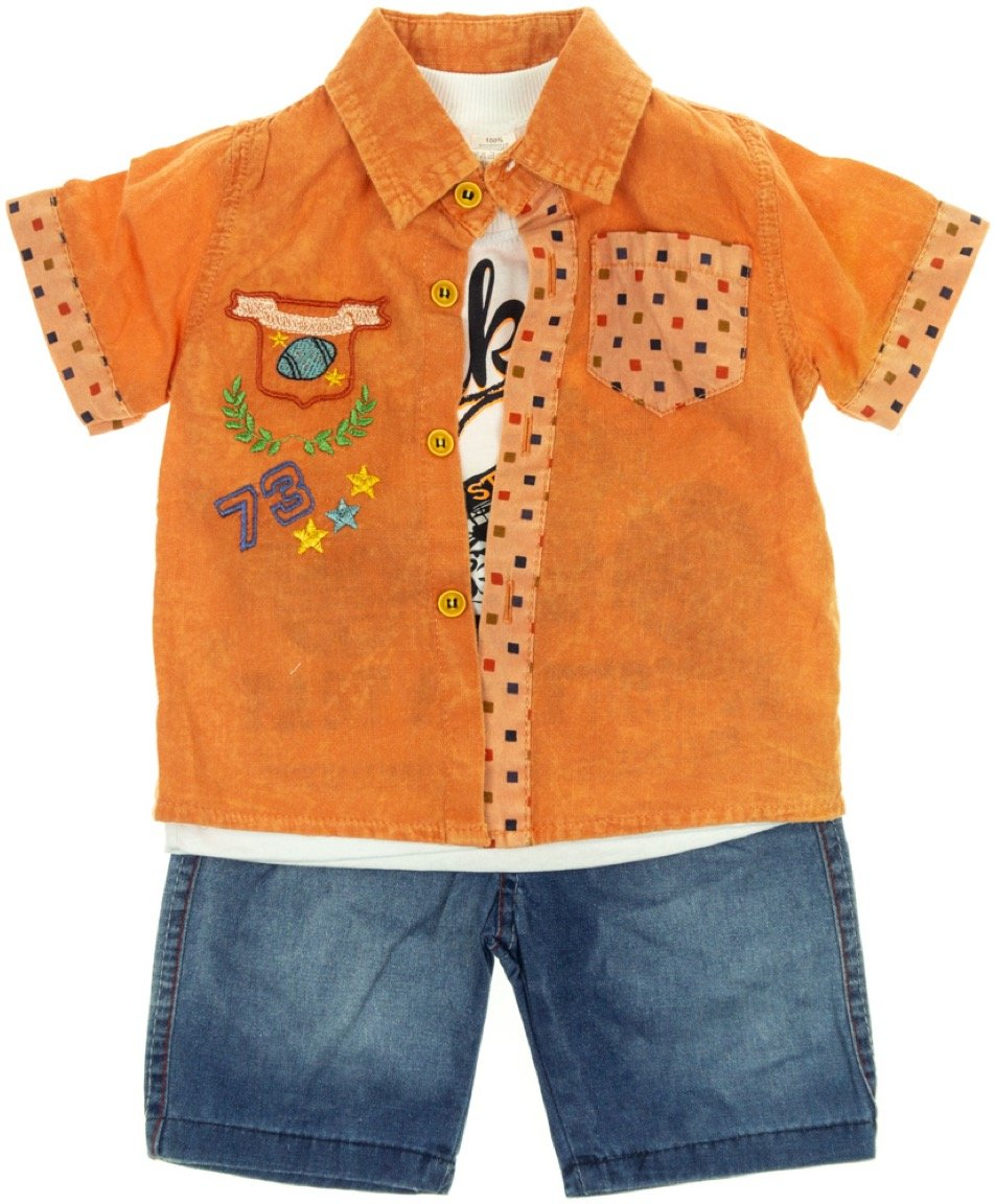 Caliskon παιδικό σετ πουκάμισο-μπλούζα-παντελόνι «Fast»