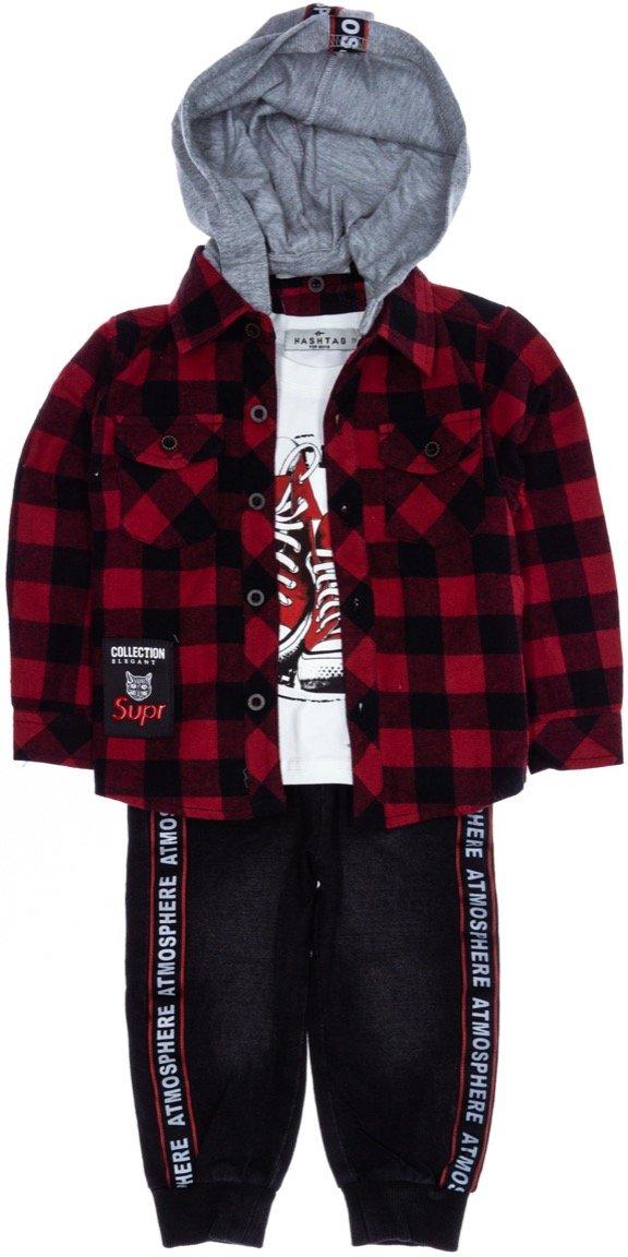 Hashtag παιδικό εποχιακό σετ πουκάμισο-μπλούζα-παντελόνι τζιν «Atmosphere»