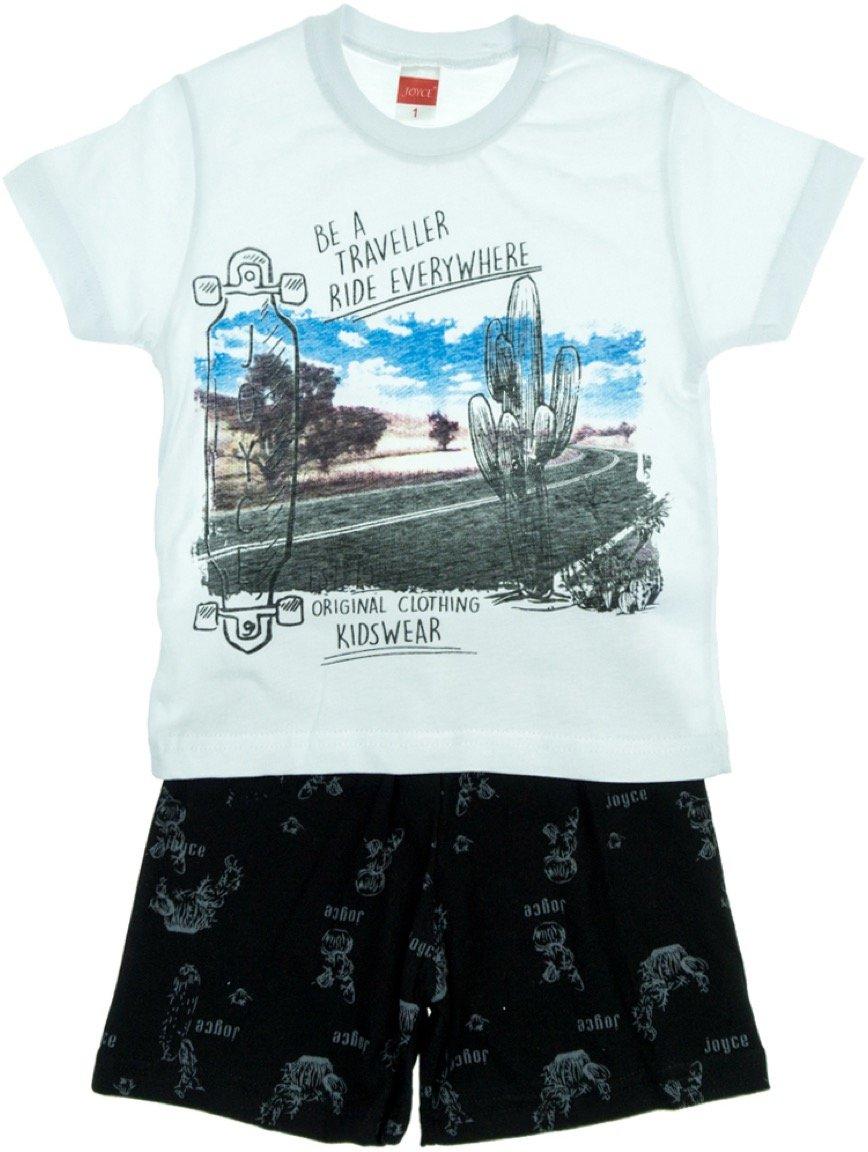 Joyce παιδικό σετ μπλούζα-παντελόνι σορτς «White Traveler»