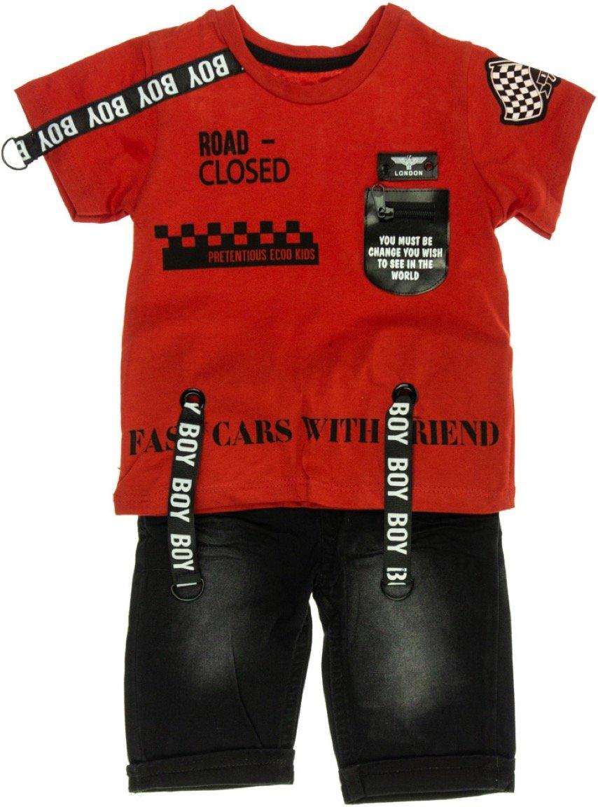 Ecoo παιδικό σετ μπλούζα-παντελόνι βερμούδα «Road Closed»