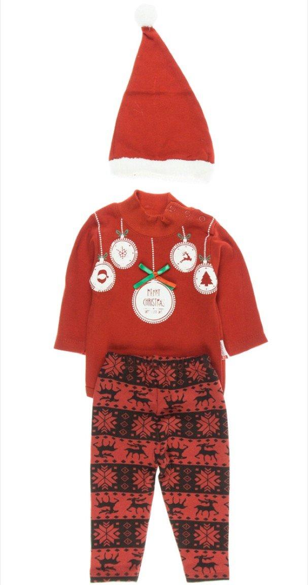 Minnak βρεφικό σετ κορμάκι-παντελόνι-σκουφάκι «Christmas»
