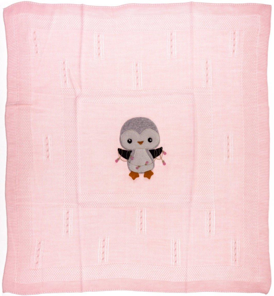 Bebikan πλεκτή κουβέρτα για βρεφικό λίκνο «Pink Penguin»