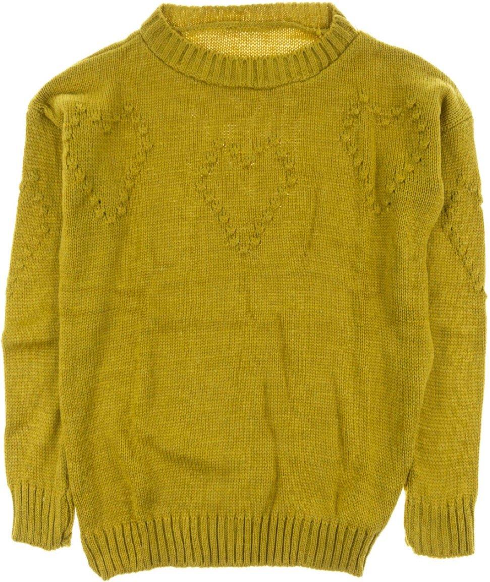 ΑΖ γυναικεία πλεκτή μπλούζα «Mustard Hearts»
