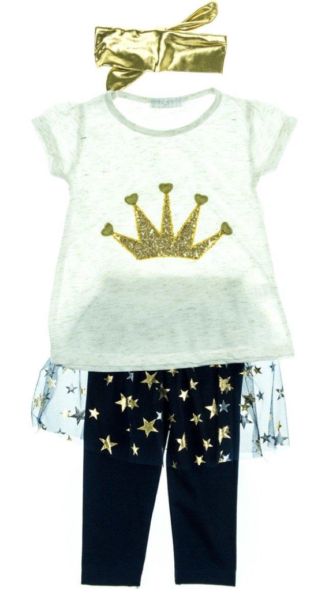 Εβίτα παιδικό σετ μπλούζα-παντελόνι-κορδέλα «Crown»