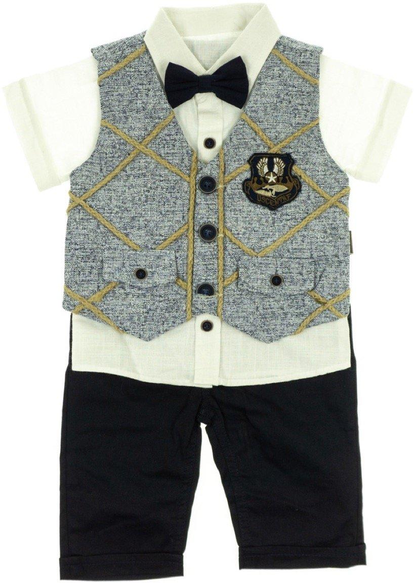 Aras βρεφικό αμπιγιέ σετ γιλέκο-πουκάμισο-παντελόνι «Whipcord»