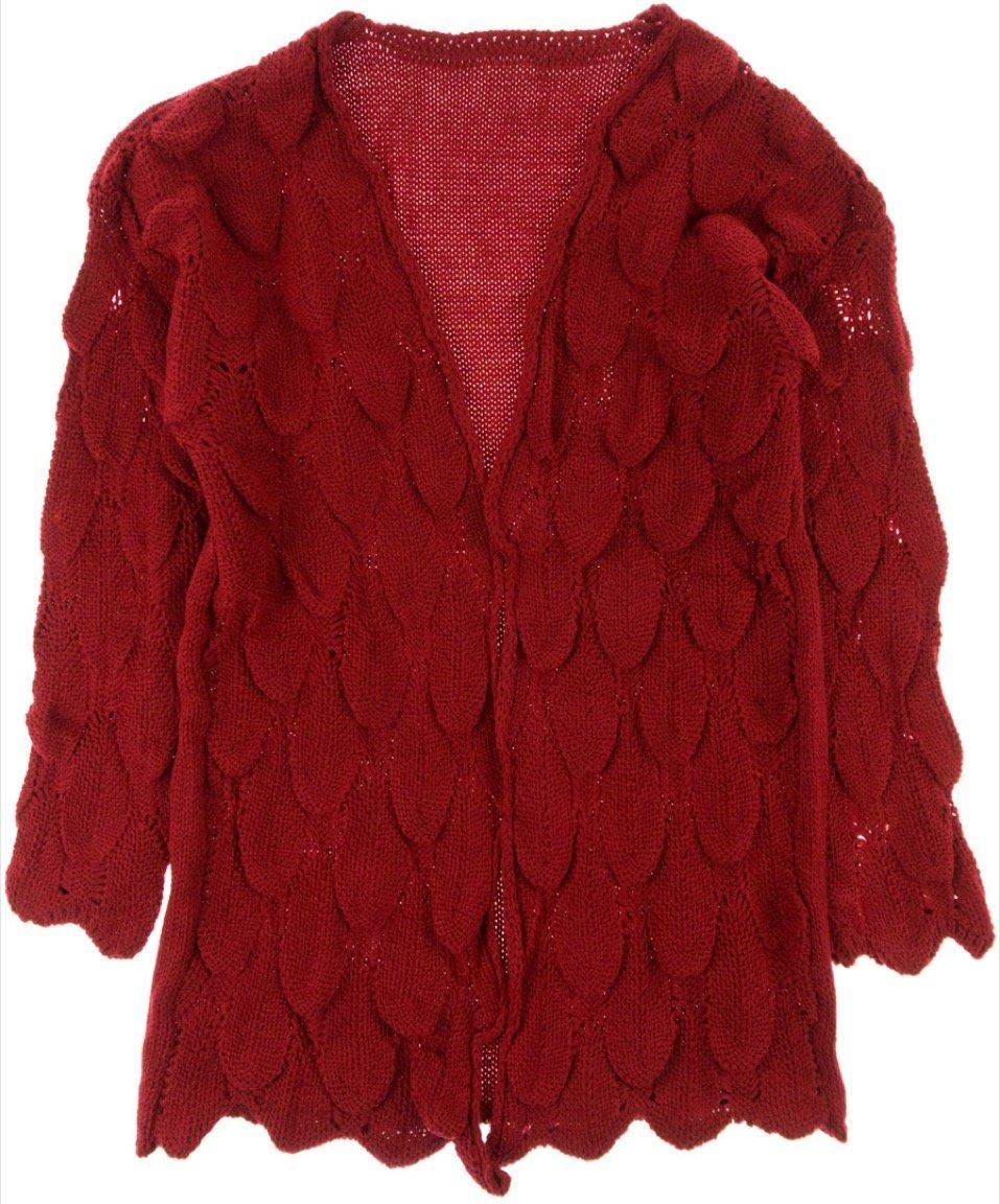 ΑΖ γυναικεία πλεκτή zακέτα «Red Weaving»