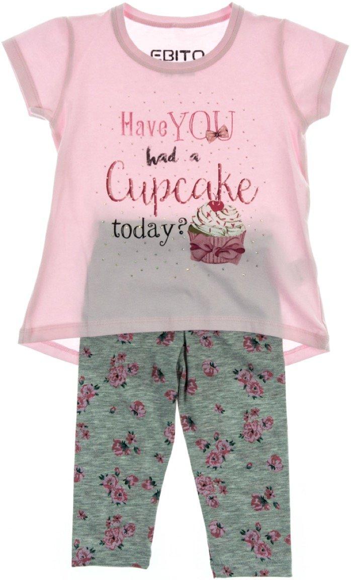Εβίτα παιδικό σετ μπλούζα-παντελόνι κολάν κάπρι «Cupcake»