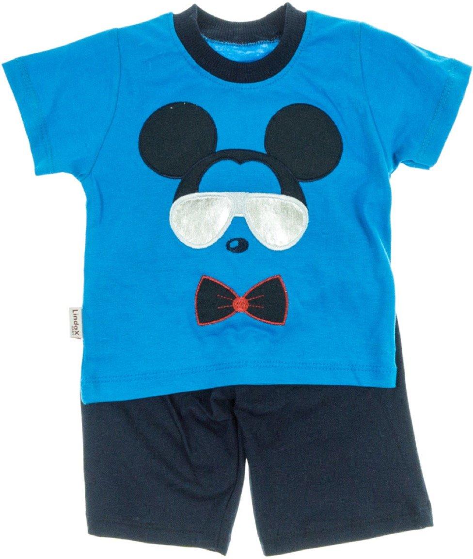 Lindax βρεφικό σετ μπλούζα-παντελόνι βερμούδα «Blue Mouse»