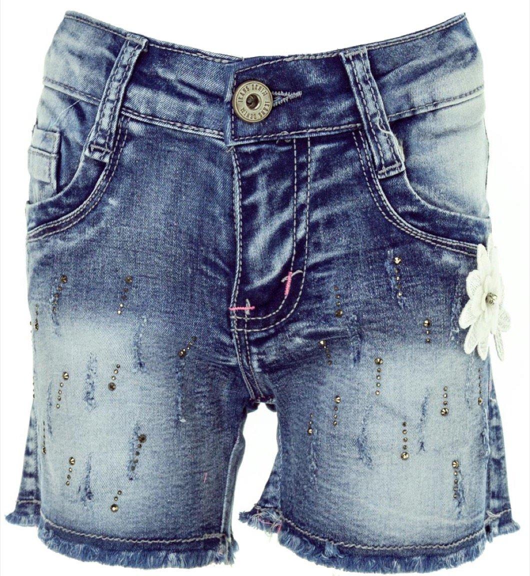 Miss Azur παιδικό παντελόνι τζιν σορτς «Flowery Denim»