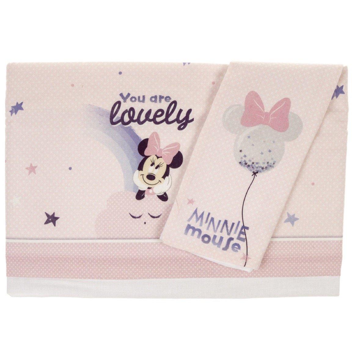 Disney Baby σεντόνια σετ τριών τεμαχίων για λίκνο-καλαθούνα «Lovely Minnie»