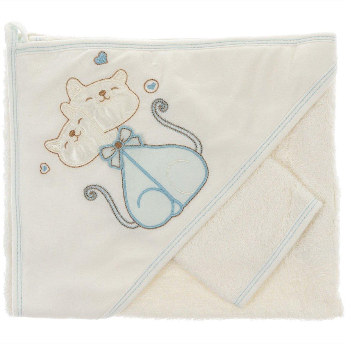 Eky Baby παιδικό μπουρνούζι-κάπα & γαντάκι μπάνιου «Kitten Love»