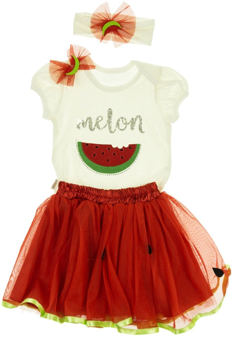Baby Rico παιδικό σετ κορμάκι-φούστα-κορδέλα «Watermelon»