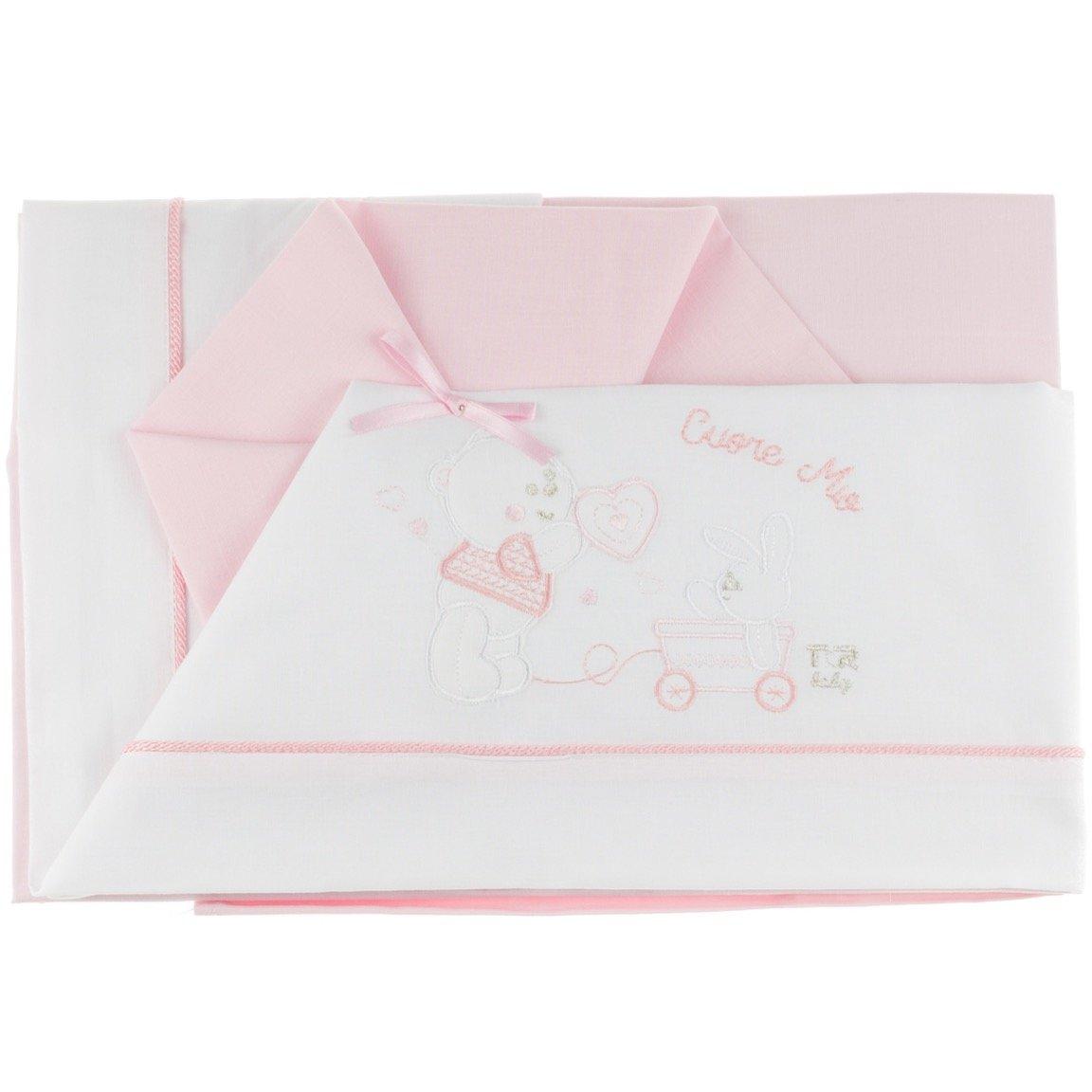 T&R σεντόνια σετ τριών τεμαχίων για παιδικό κρεβάτι (κούνια) «My Pink Heart»