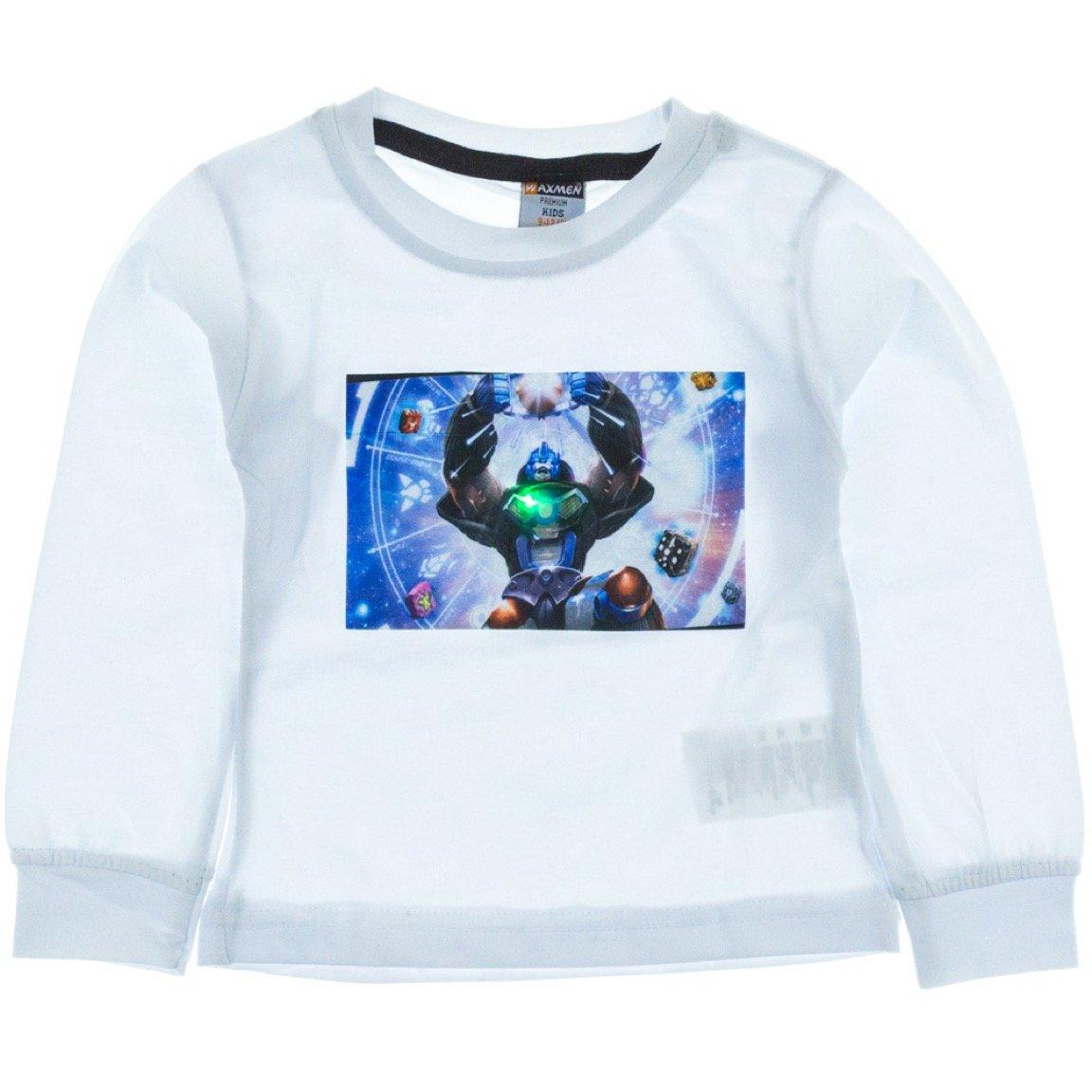Waxmen παιδική εποχιακή μπλούζα με φωτάκια «White Robot»