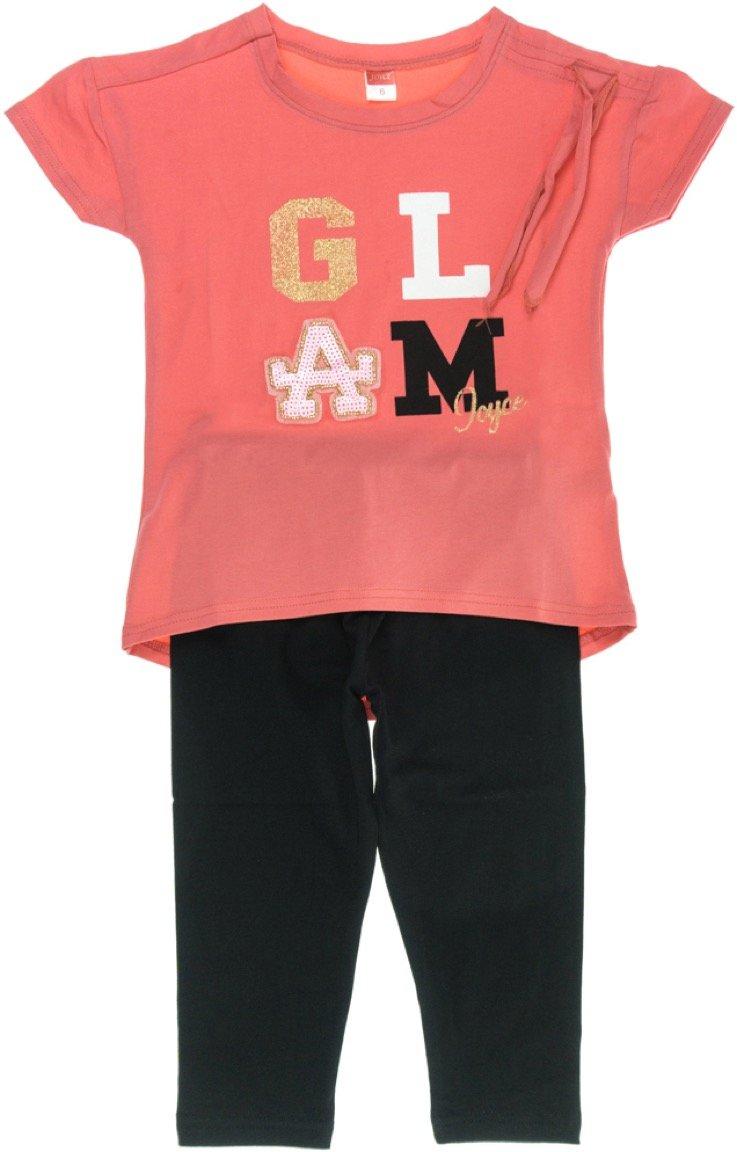 Joyce παιδικό σετ μπλούζα-παντελόνι κολάν κάπρι «Coral Glam»