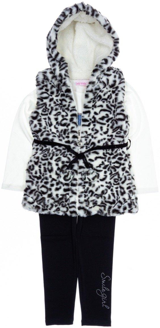 Lady Moda παιδικό σετ γούνινη ζακέτα-μπλούζα-κολάν «Smile»