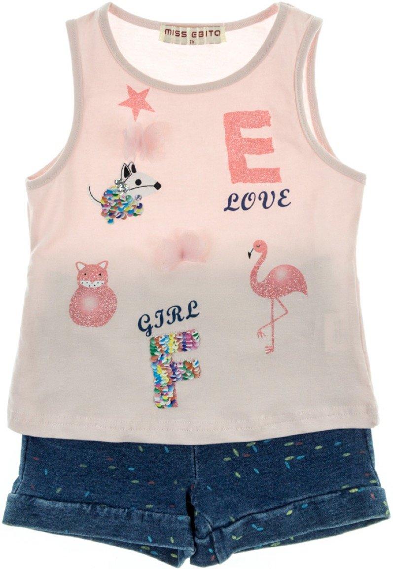 Εβίτα παιδικό σετ μπλούζα-παντελόνι σορτς «Flamingo»