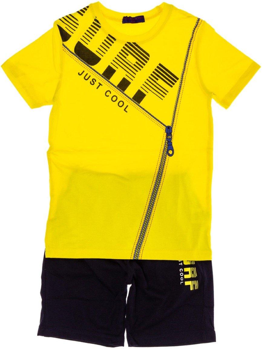 Peperoncino παιδικό σετ μπλούζα (στενή γραμμή)-βερμούδα «Yellow Surf»