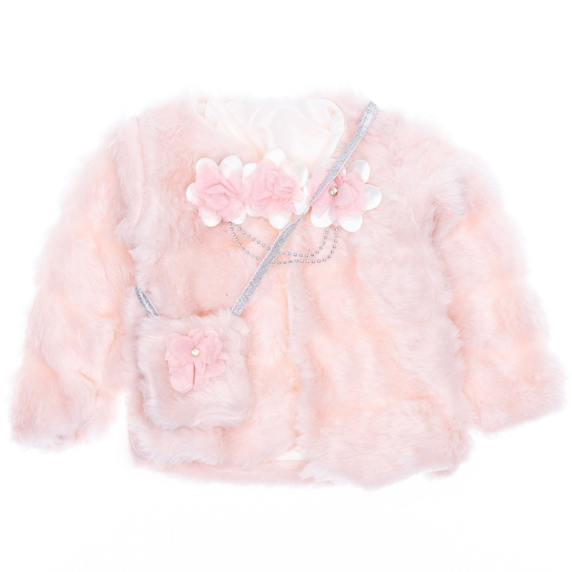AZ παιδική γούνινη αμπιγιέ ζακέτα και τσαντάκι «Princess»