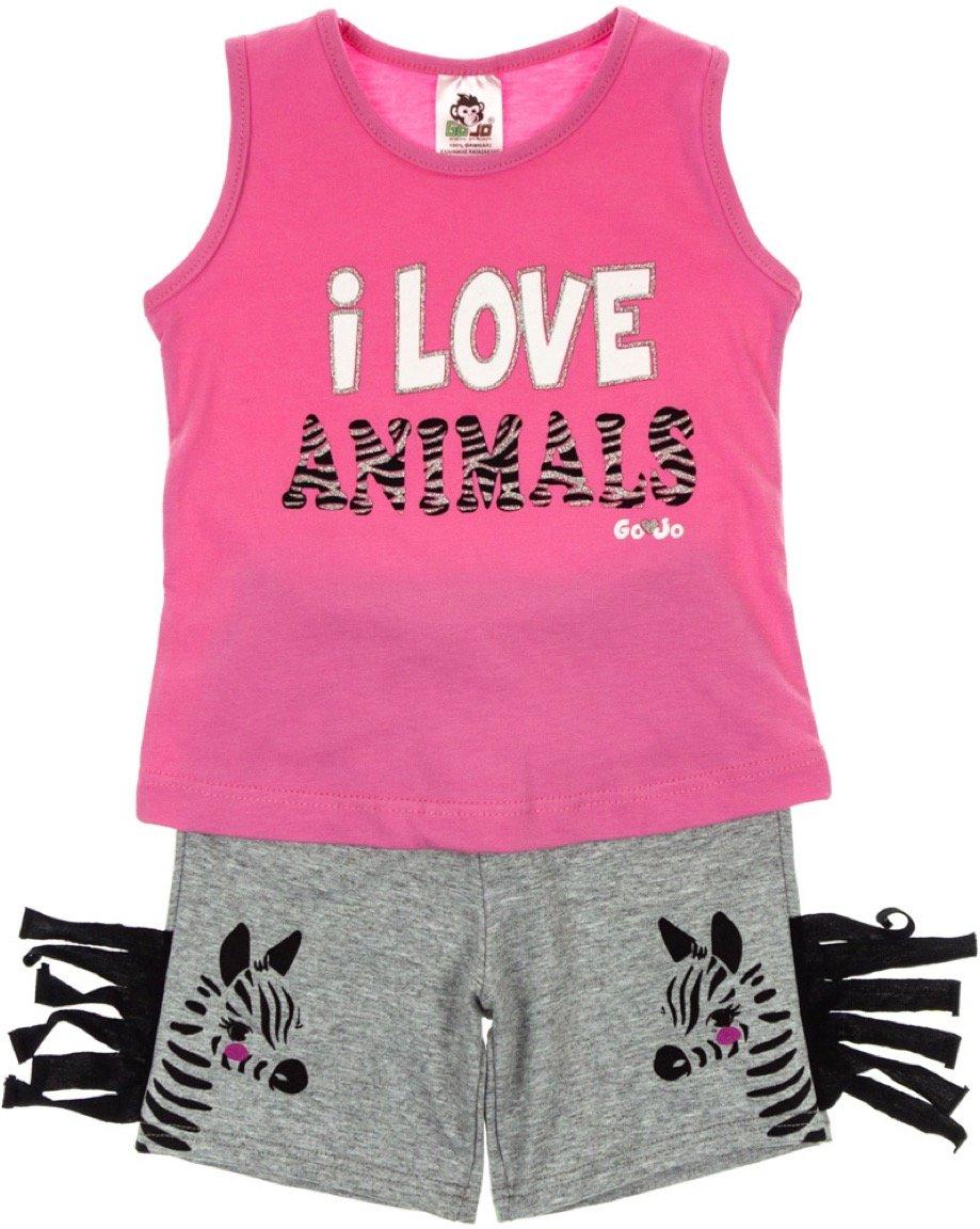 Go Jo παιδικό σετ μπλούζα-παντελόνι σορτς «I Love Animals»