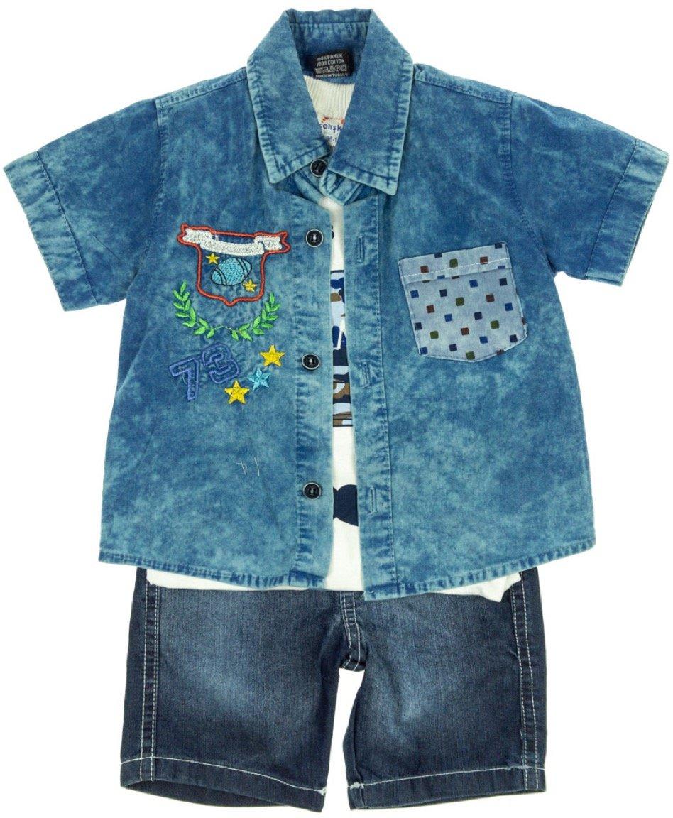 Caliskon παιδικό σετ πουκάμισο-μπλούζα-παντελόνι «League 73»
