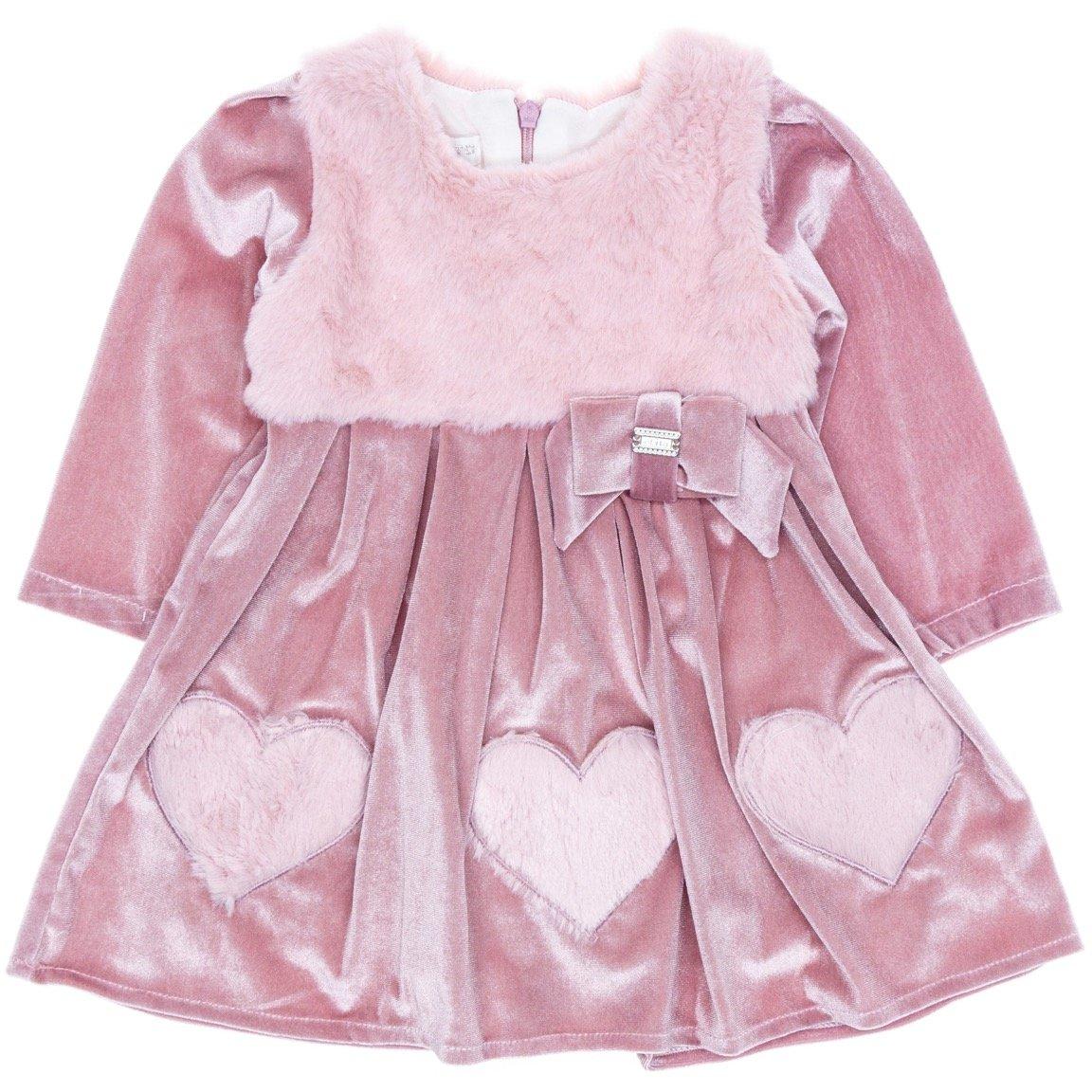 Εβίτα βρεφικό αμπιγιέ βελουτέ φόρεμα «Soft Hearts»