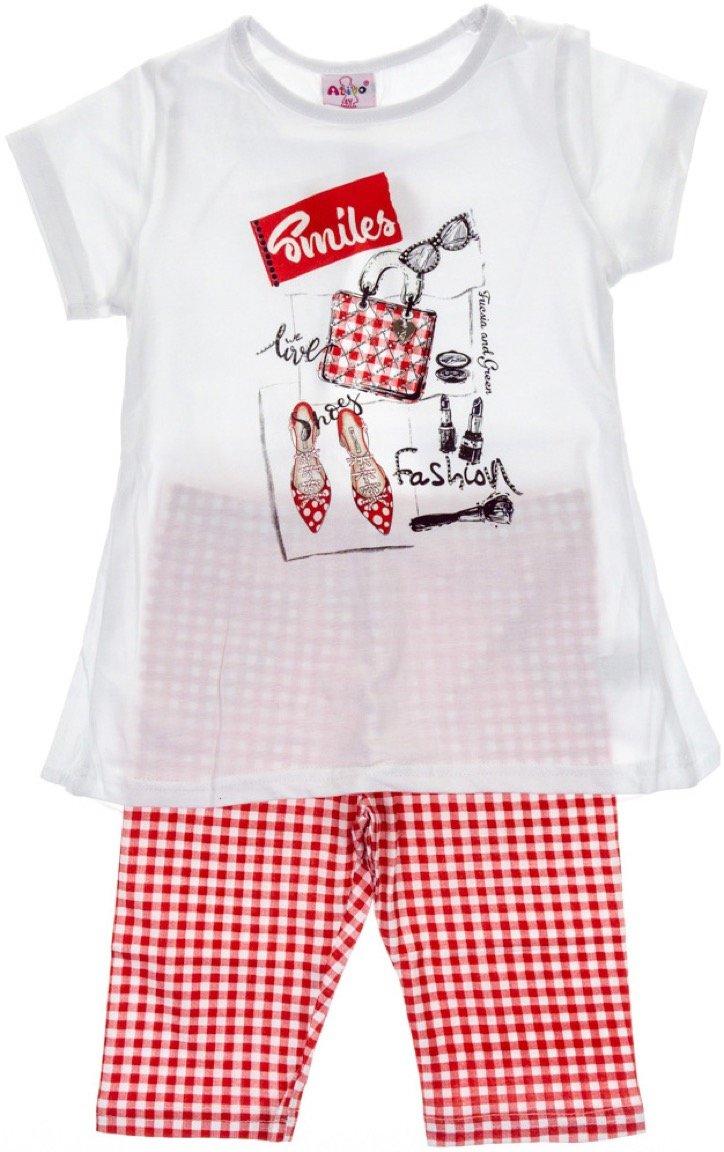 Ativo παιδικό σετ μπλούζα-παντελόνι κολάν κάπρι «Red Smiles»