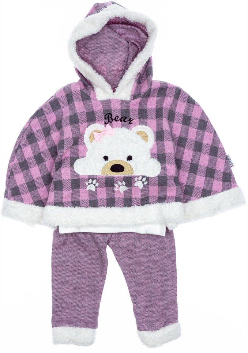 Modimix παιδικό σετ πόντσο-μπλούζα-παντελόνι «Bear»