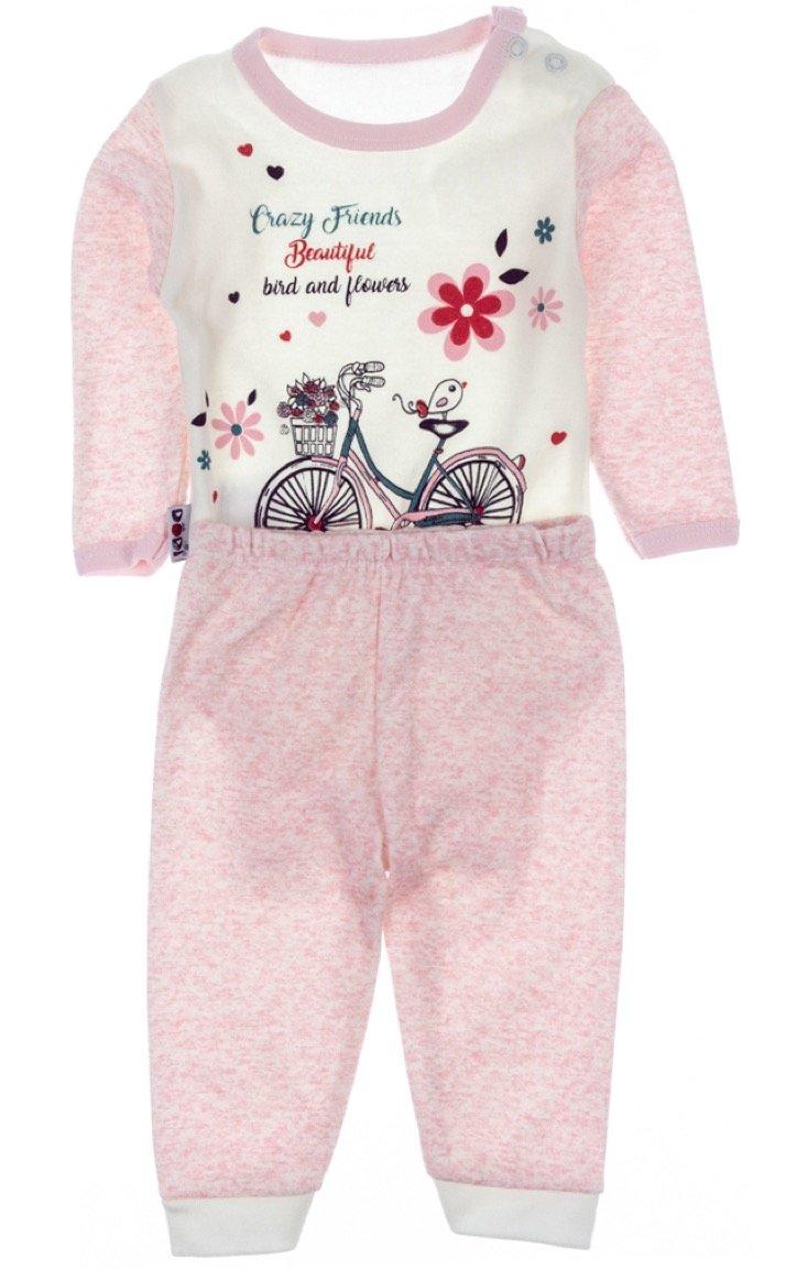 Dodi βρεφικό σετ κορμάκι-παντελόνι «Flowery Bicycle»
