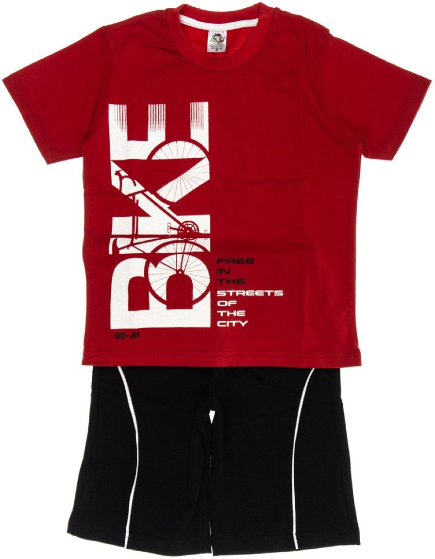 Go Jo παιδικό σετ μπλούζα-παντελόνι βερμούδα «Red Bike»