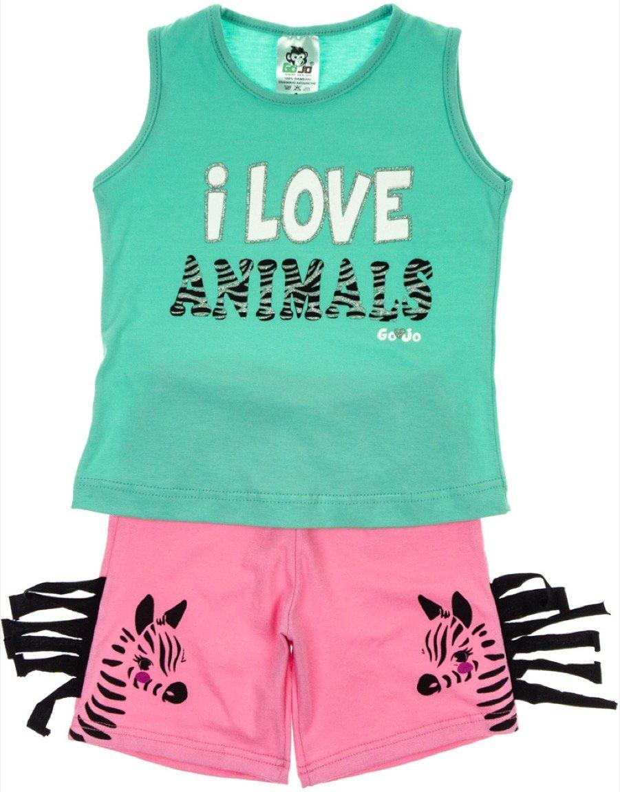 Go Jo παιδικό σετ μπλούζα-παντελόνι σορτς «Love Animals»