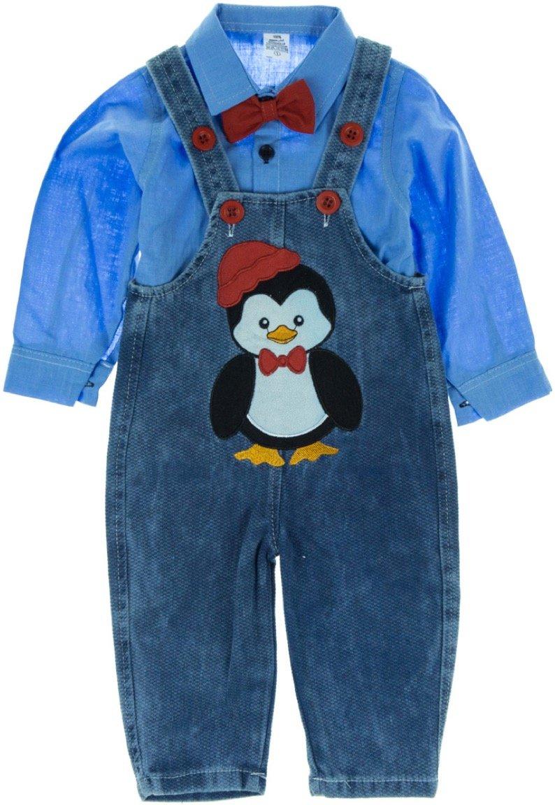 Latoldo βρεφικό εποχιακό σετ πουκάμισο-σαλοπέτα «My Penguin»