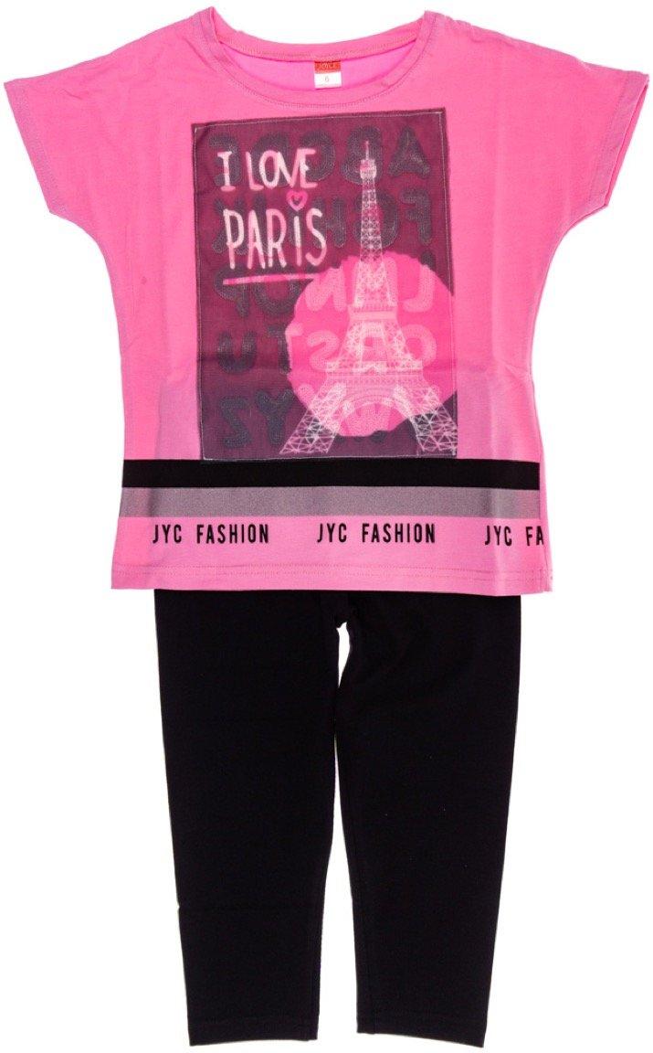 Joyce παιδικό σετ μπλούζα-παντελόνι κολάν κάπρι «Love Paris»