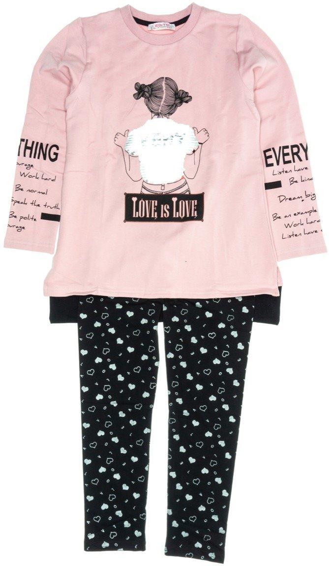Εβίτα παιδικό σετ μπλούζα-παντελόνι κολάν «Love is Love»
