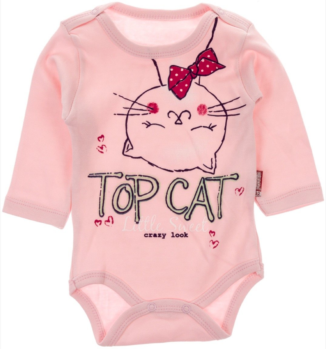 Pabbuc βρεφικό κορμάκι «Top Pink Cat»