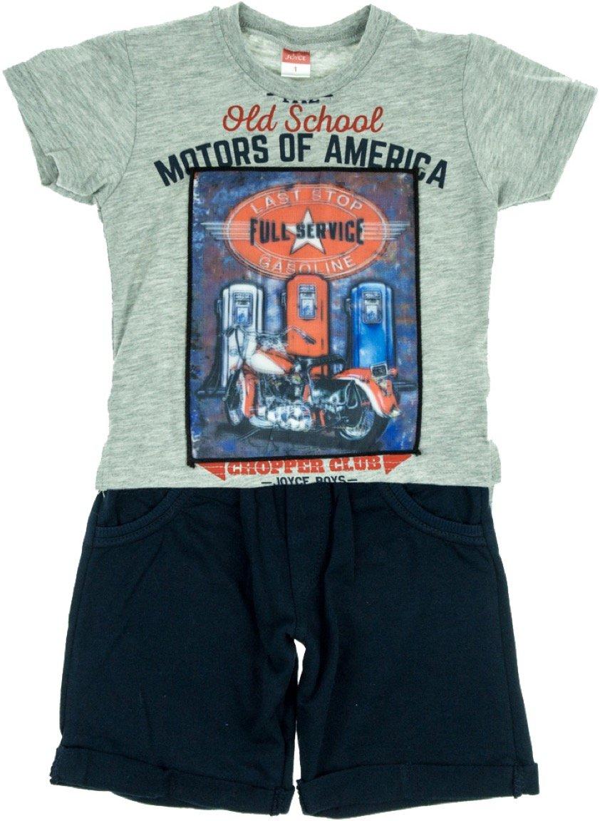 Joyce παιδικό σετ μπλούζα με φωτάκια & παντελόνι σορτς «Grey Motors»
