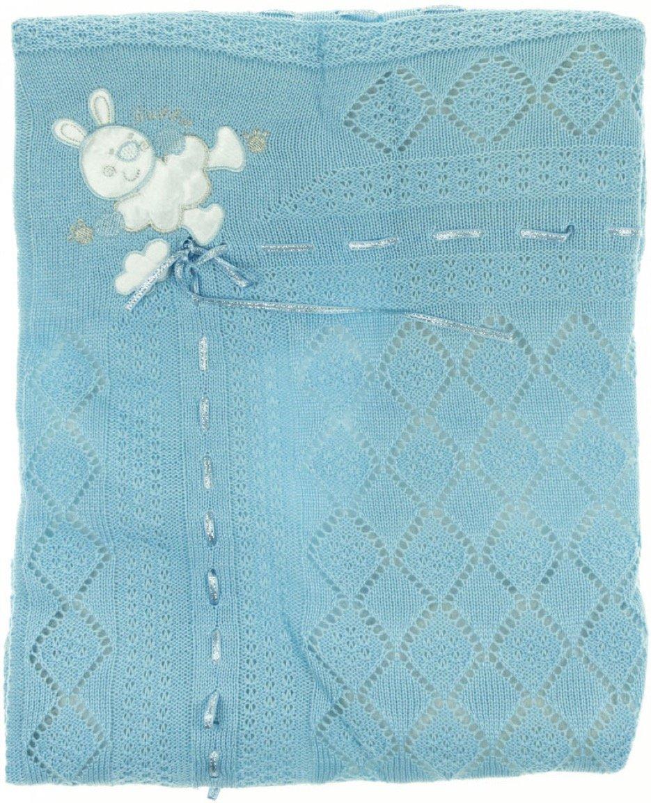Sansli Triko πλεκτή κουβέρτα για βρεφικό λίκνο «The Blue Rabbit»