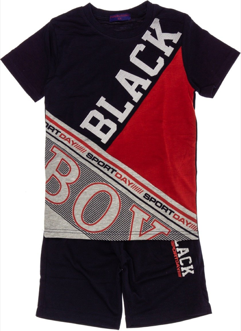 Peperoncino παιδικό σετ μπλούζα (στενή γραμμή)-βερμούδα «Boy»