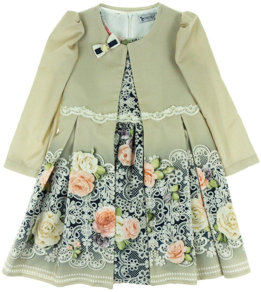 Seker παιδικό αμπιγιέ φόρεμα και μαντό «Little Lady»