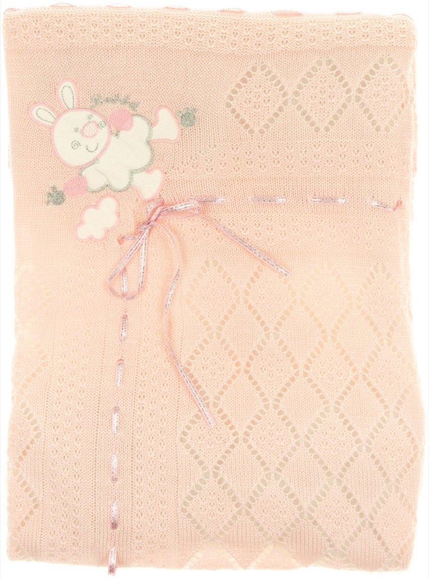 Sansli Triko πλεκτή κουβέρτα για βρεφικό λίκνο «My Pink Rabbit»