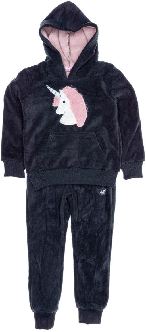 Lady Moda παιδικό βελουτέ σετ φόρμα μπλούζα-παντελόνι «Unicorn»