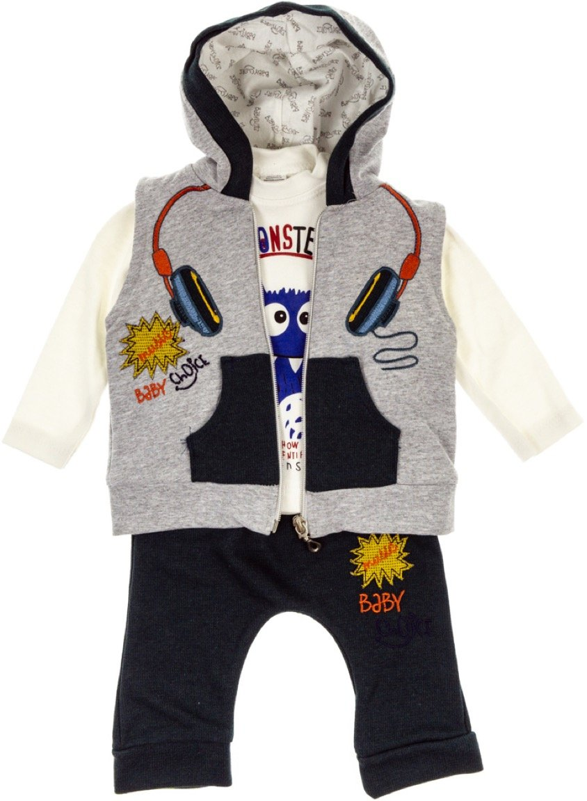 Baby Choice βρεφικό σετ γιλέκο-μπλούζα-παντελόνι «Monster»