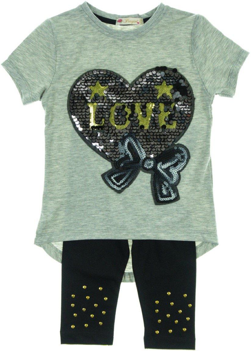 Pengim παιδικό σετ μπλούζα-παντελόνι κολάν κάπρι «Heart in Love»