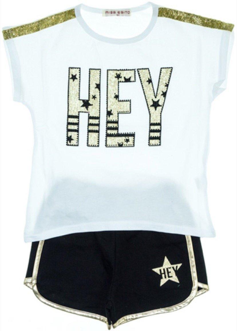 Εβίτα παιδικό σετ μπλούζα-παντελόνι σορτς «Hey»