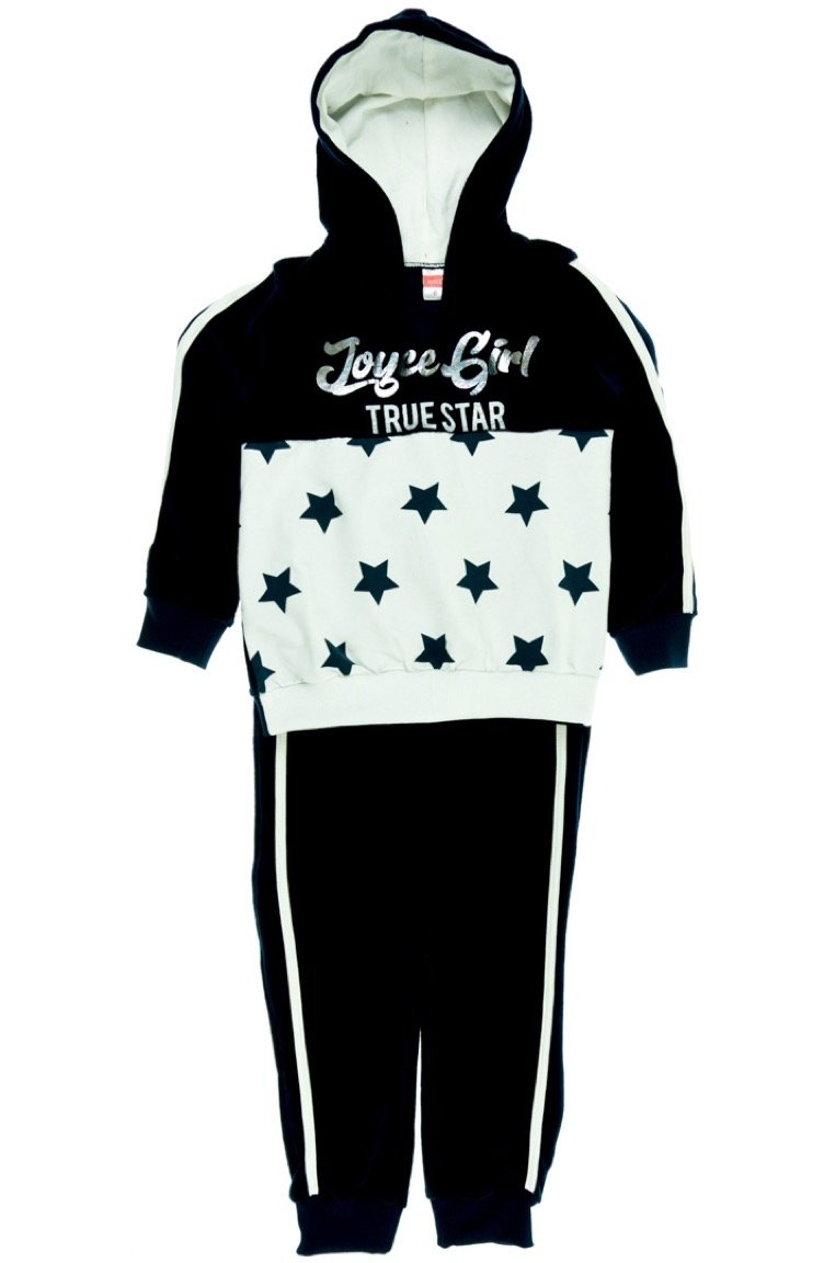Joyce παιδικό σετ φόρμα μπλούζα-παντελόνι «Black Velvet Stars»