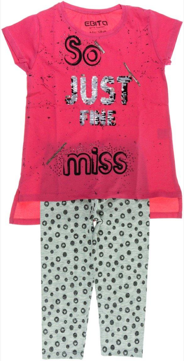Εβίτα παιδικό σετ μπλούζα-παντελόνι κολάν-κάπρι «Just Fine»