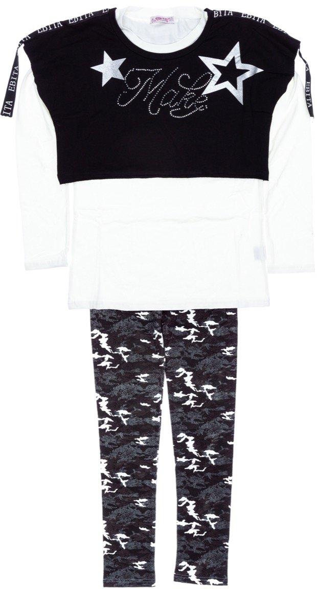 Εβίτα παιδικό σετ δυο μπλούζες-παντελόνι κολάν «Make»