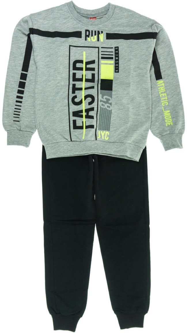 Joyce παιδικό εποχιακό σετ φόρμα μπλούζα-παντελόνι «Grey Run Faster»