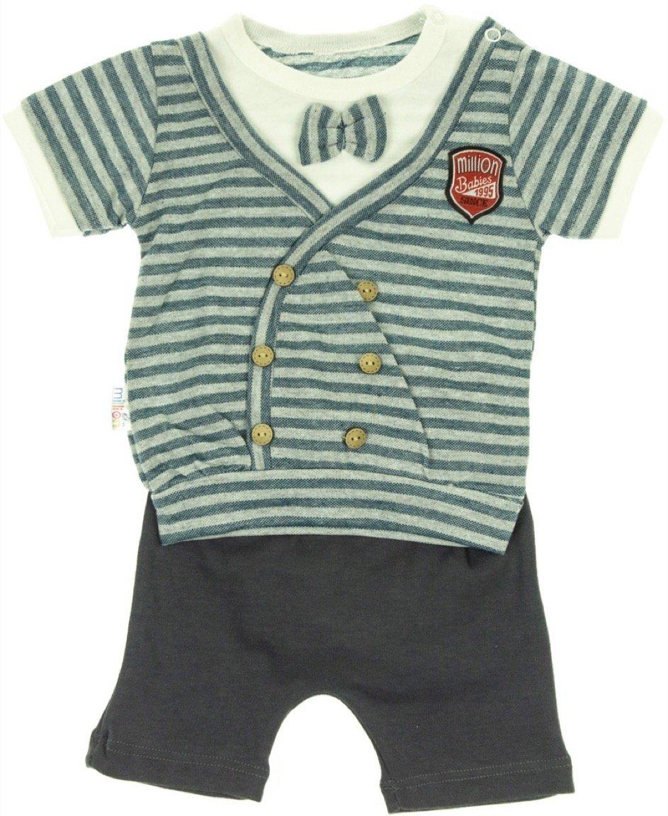 Million Babies βρεφικό σετ μπλούζα-παντελόνι σορτς «The Striped»